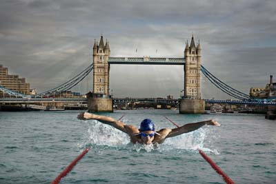 Swimmer in the river thames IMS0173203