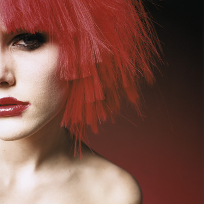 Young Woman Wearing Red Wig CUP0001588