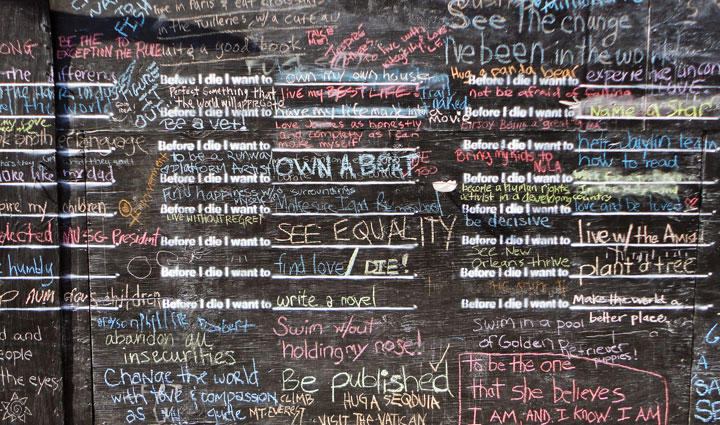 "Completely Filled Out Chalkboard of ""Before I Die"" - Public Art Project"