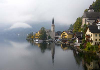 Town of Hallstatt on the Hallstatter See lake in Austria at moody light SCN0049221