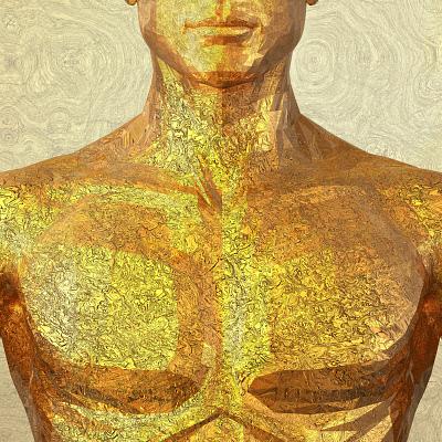 golden metallic human male upper body PCH0086642