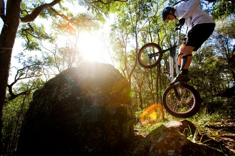 Trials rider in forest AUR0007479