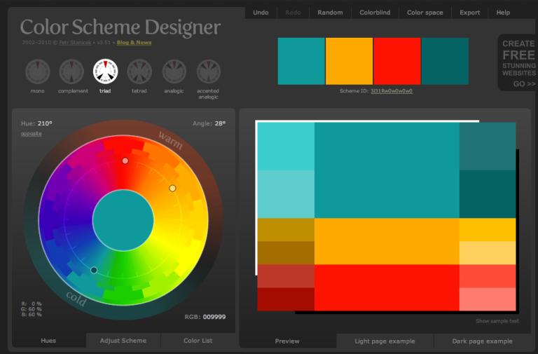 Color Scheme Designer Triad Setting