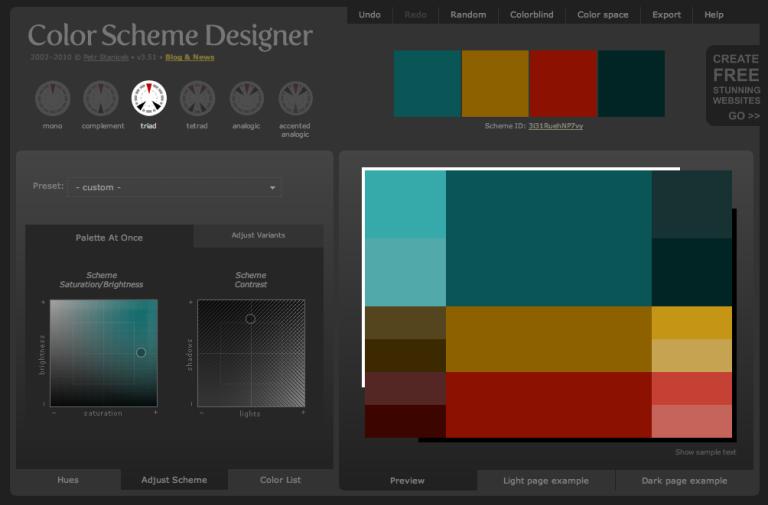 Color Scheme Designer Adjustment Scheme