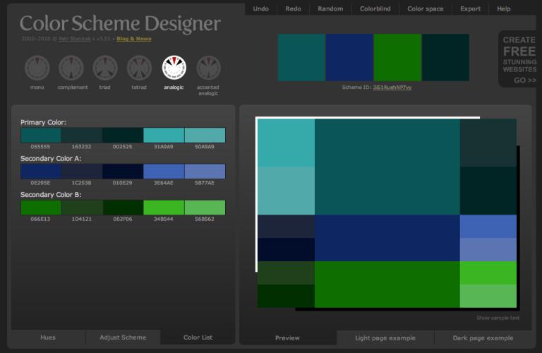 Color Scheme Designer Color List