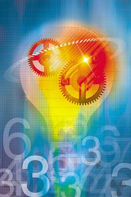 Graphic Design of lightbulb with descriptive colors. © Media Bakery/John Foxx #IST0000495