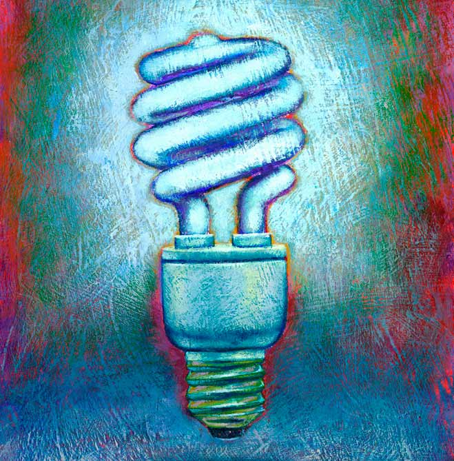 Painting of a Compact Flourescent Lightbulb. © Media Bakery