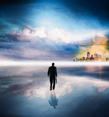 Man Walking in the Clouds. ©Media Bakery #CRB0088957