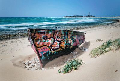 A colourfully painted rowboat on canos de meca beach; cape trafalgar cadiz andalusia spain. ©MediaBakery #DST0010445