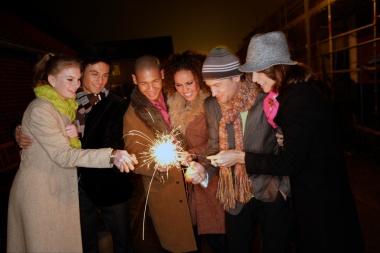 Media Bakery ID: UPC0017915 Friends lighting sparklers