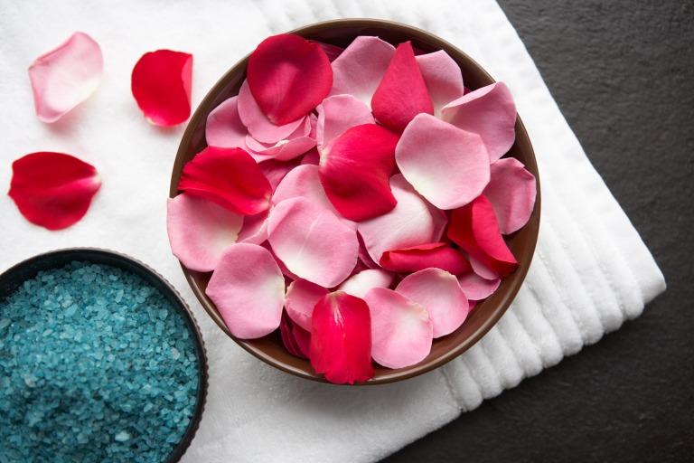 Media Bakery ID: MKB0084796 Rose petals and bath crystals