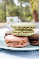 Media Bakery ID: BDG0020506 four macarons on plate