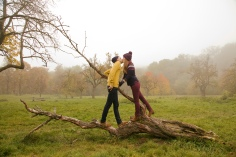Media Bakery ID: CUL0132250 Young couple kissing on bare tree in misty park