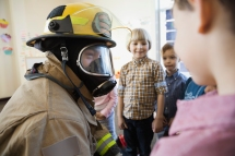 Media Bakery ID: HER0002213 Firefighter giving presentation to elemetary children