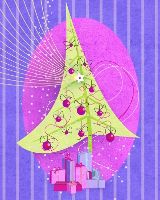 Media Bakery ID: SMA0002759 Decorated Christmas tree with presents underneath