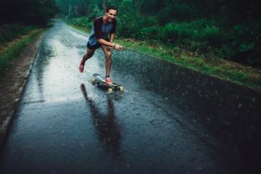 Man on longboard