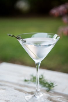 Lavender martini on a wood table